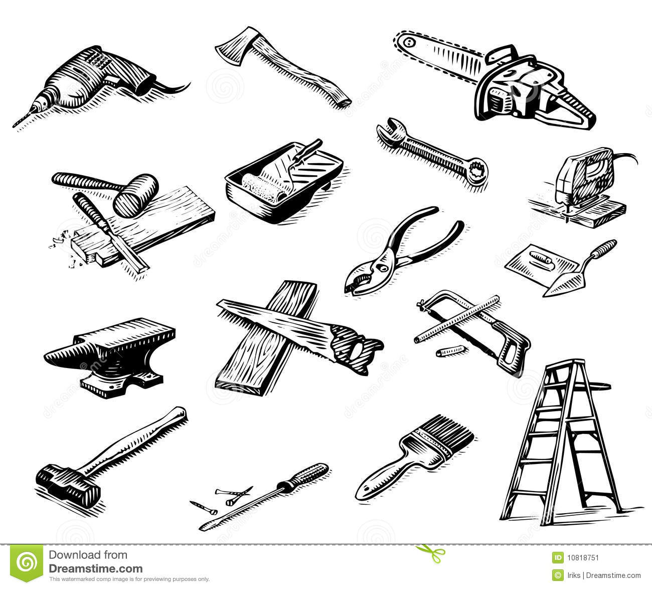 Man In Black With Tools Royalty Free Stock Photo