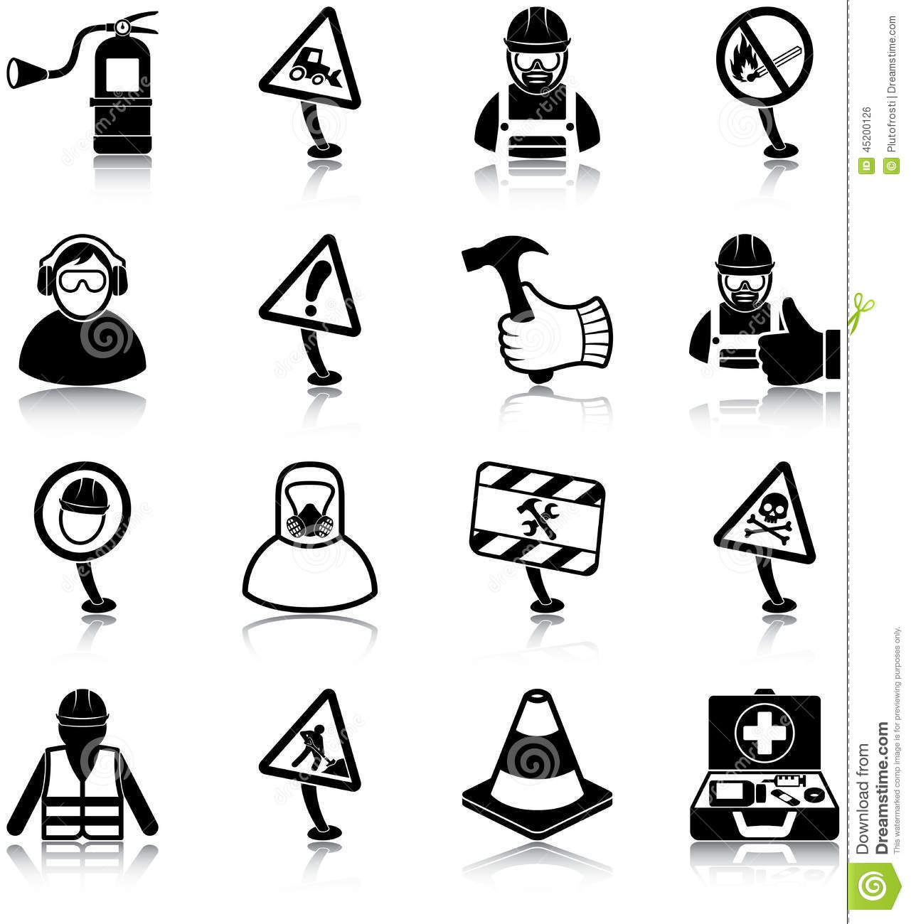 Workplace Health And Safety Icons Stock Vector
