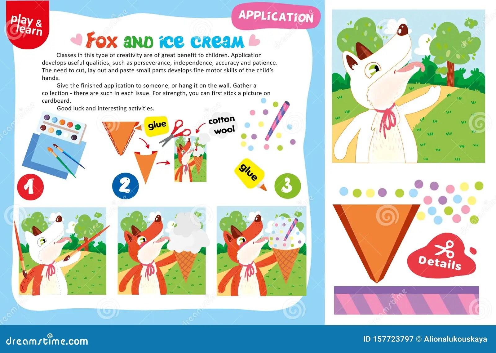 Worksheet Application Fox Und Ice Creme Vektor Abbildung