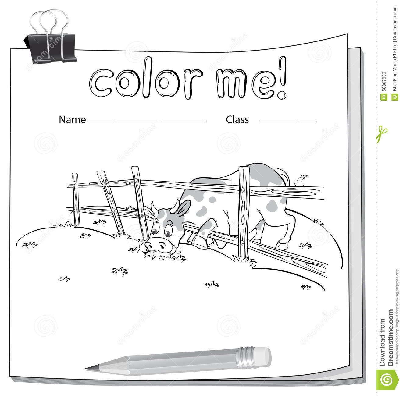 Worksheet With A Cow Stock Vector Image Of Coloring