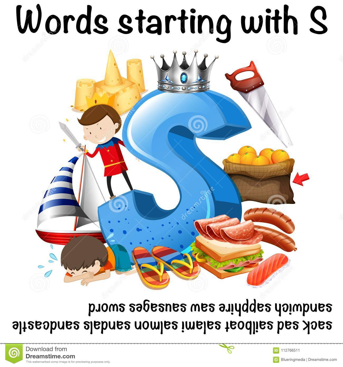 Worksheet Design For Words Starting With S Stock Vector