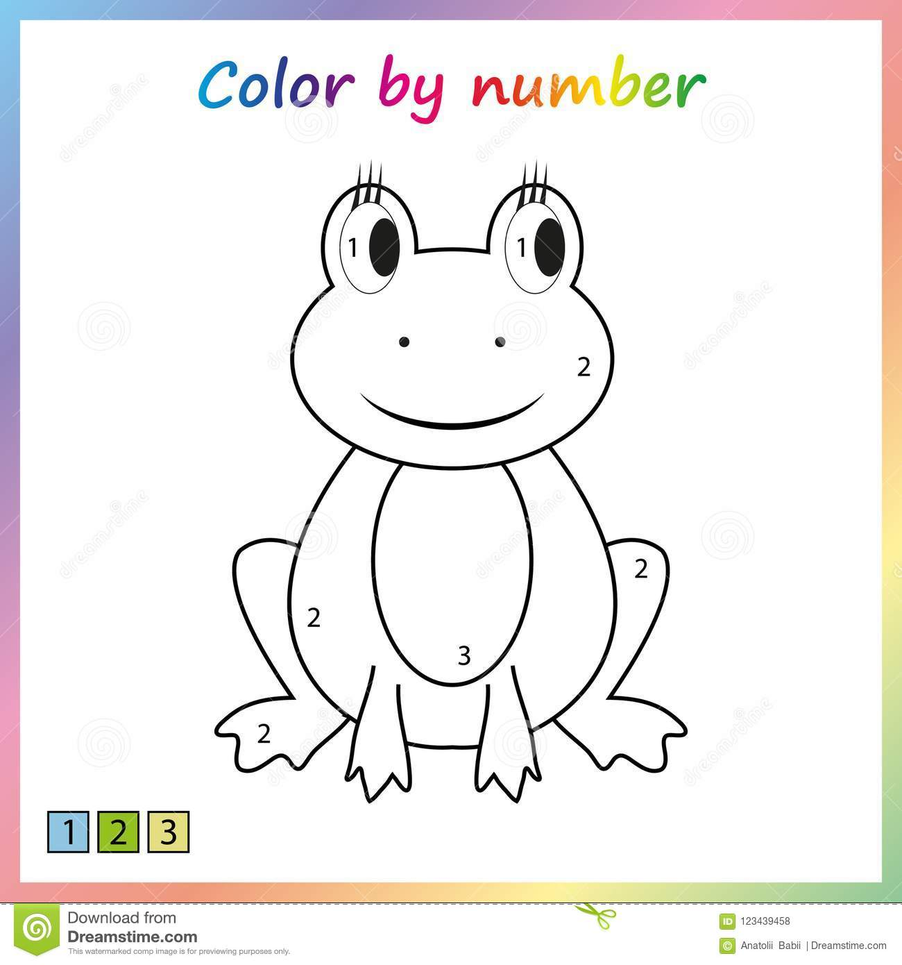 Worksheet For Education Painting Page Color By Numbers Game For Preschool Kids Stock Vector