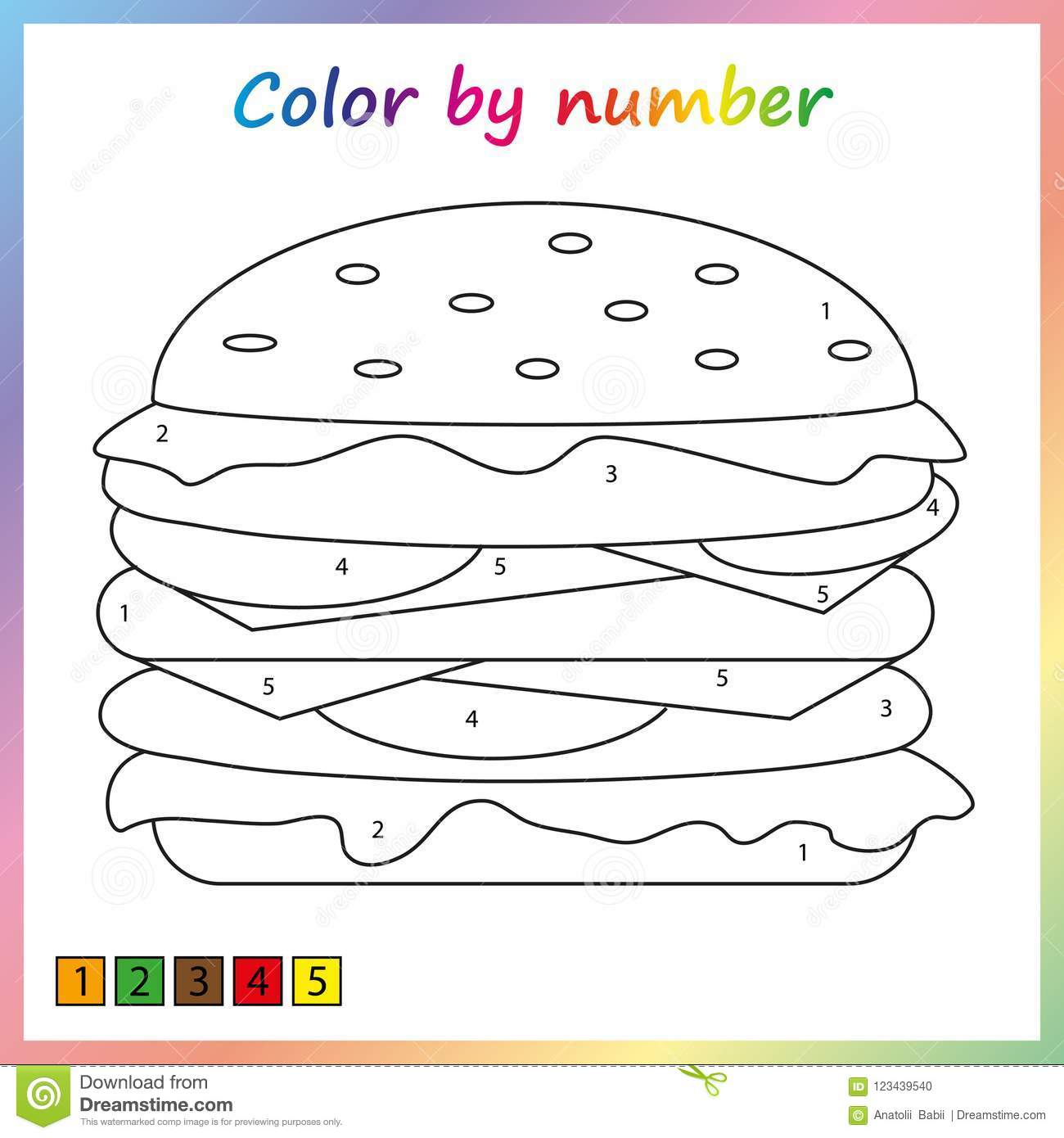 Paint Color By Number Worksheet