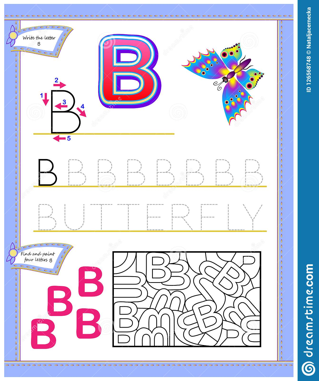 Worksheet For Kids With Letter B For Study English