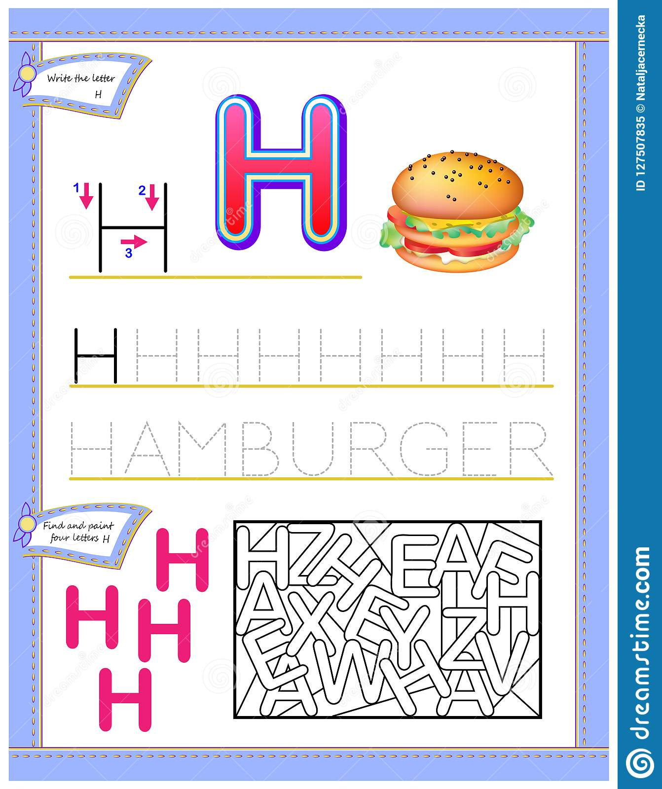 Worksheet For Kids With Letter H For Study English