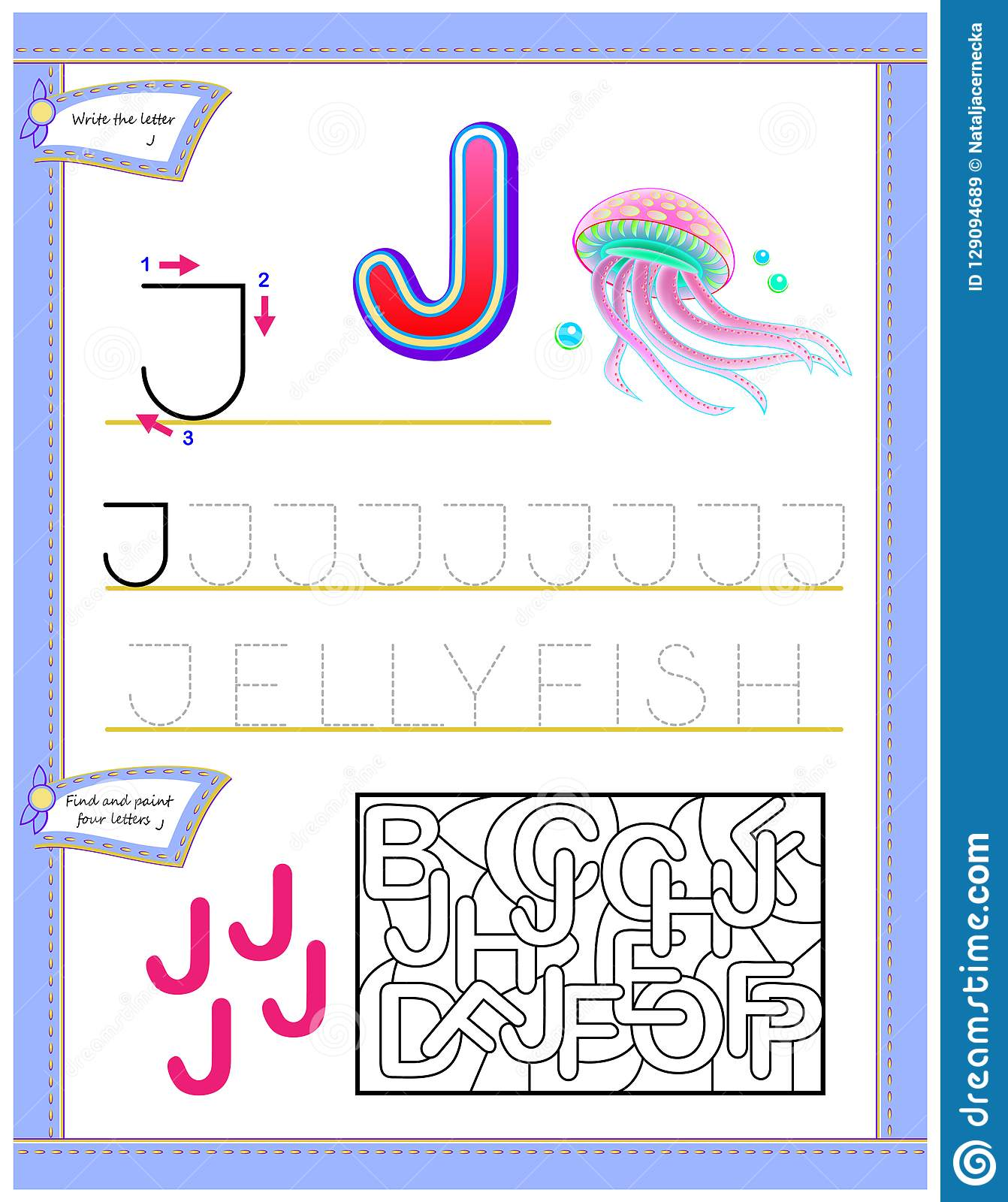 Worksheet For Kids With Letter J For Study English