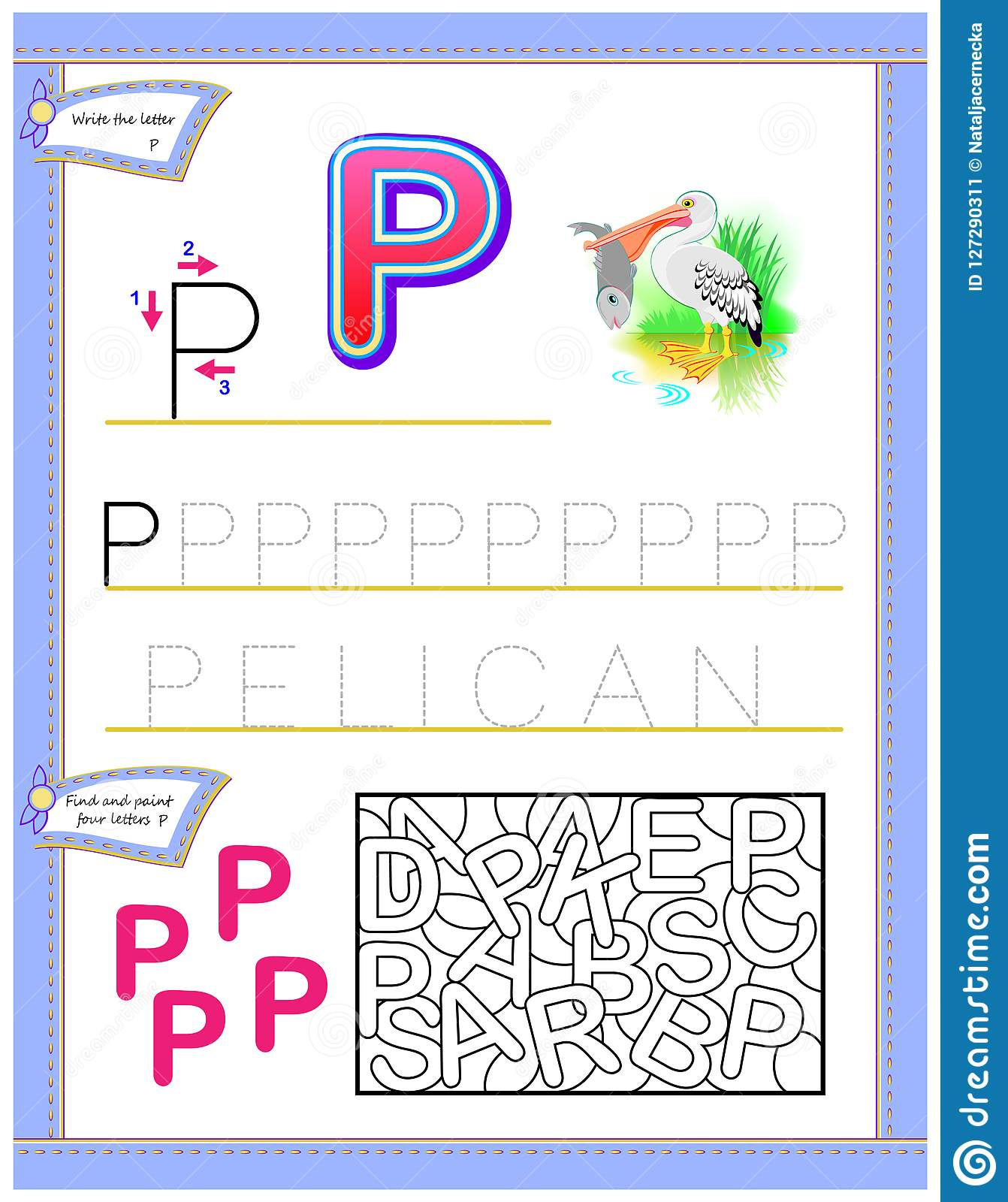Worksheet For Kids With Letter P For Study English