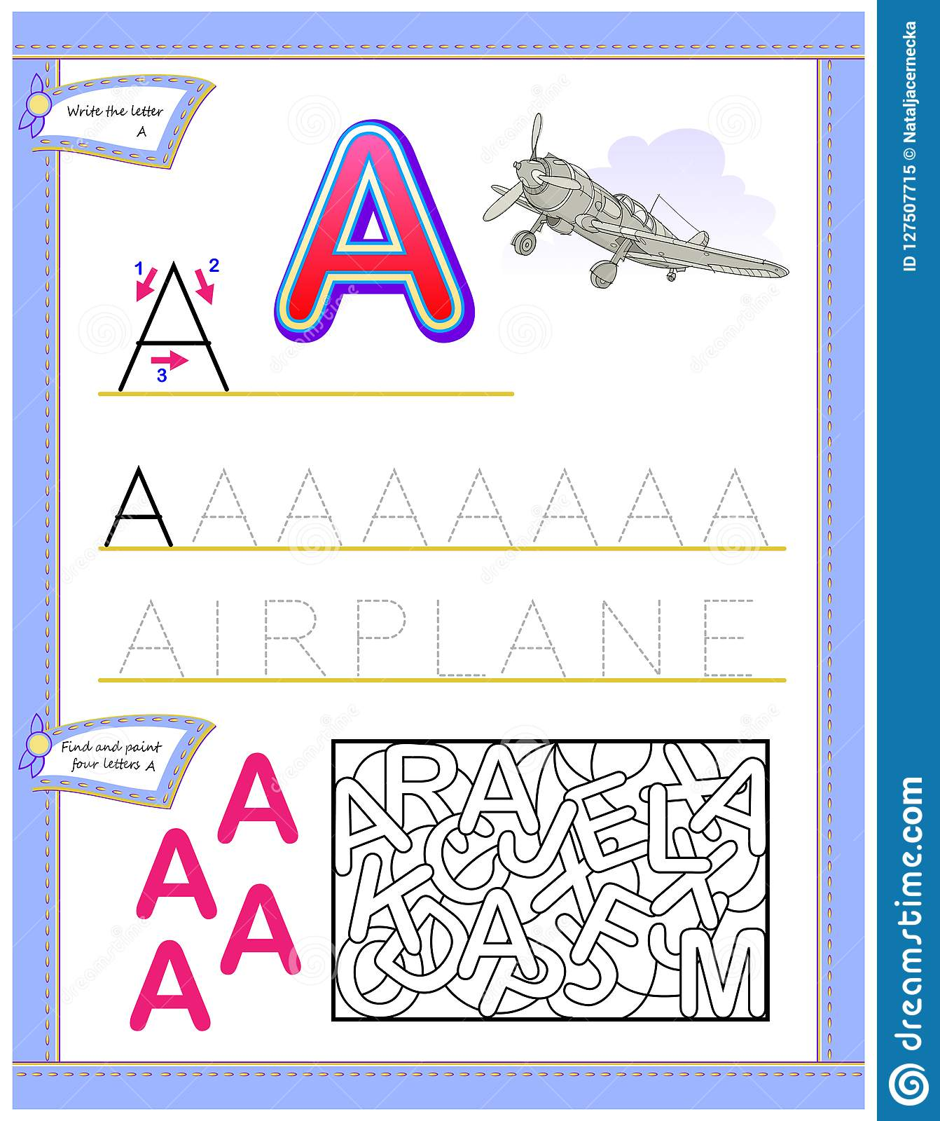 Worksheet For Kids With Letter A For Study English
