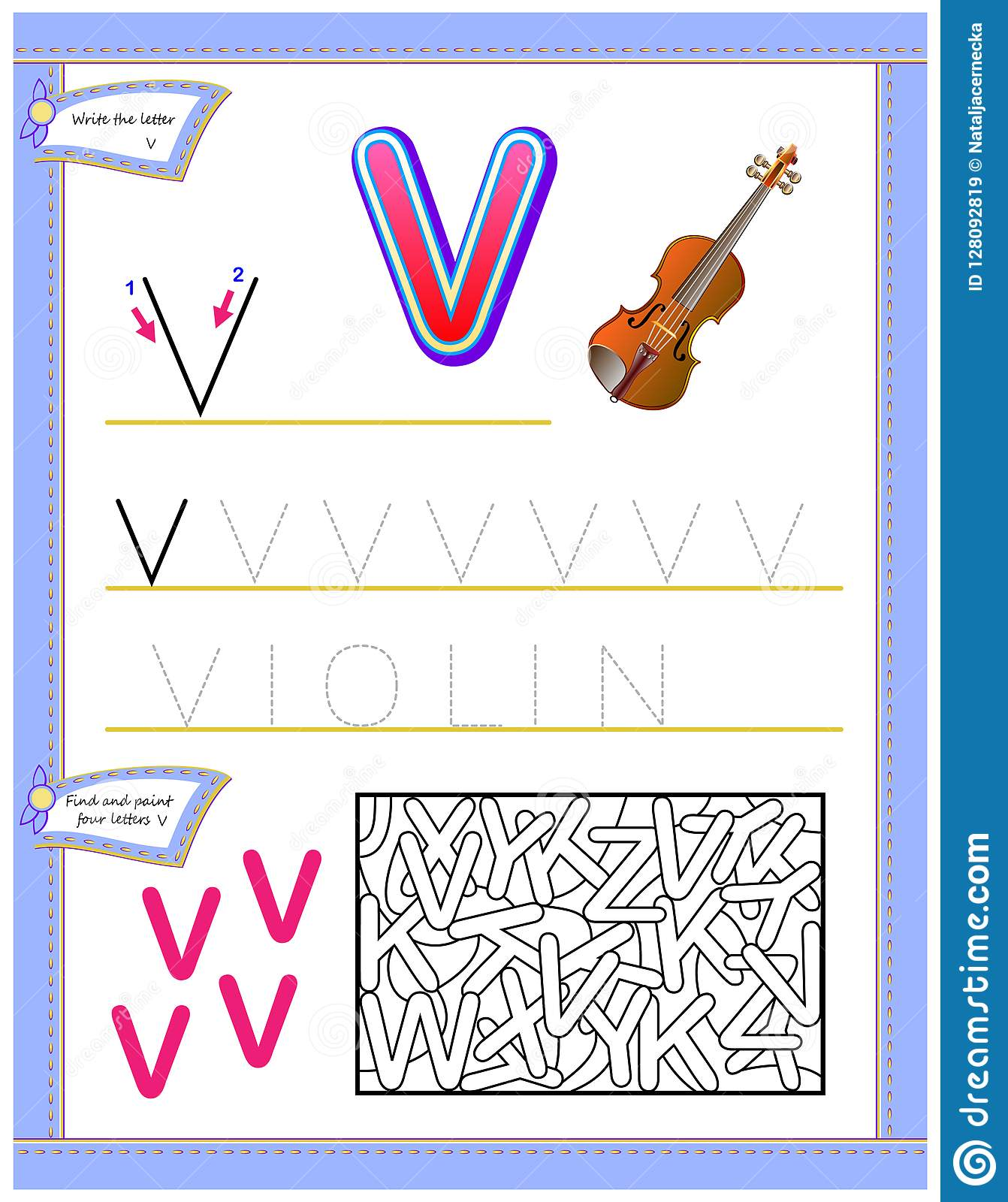 Worksheet For Kids With Letter V For Study English