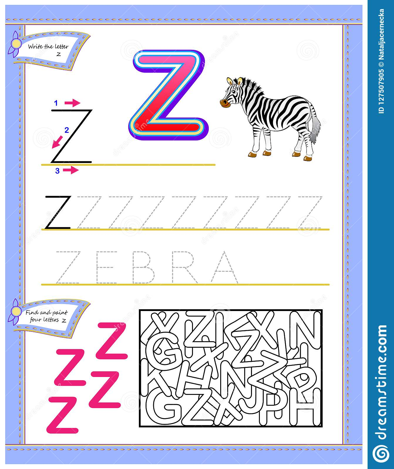 Worksheet For Kids With Letter Z For Study English