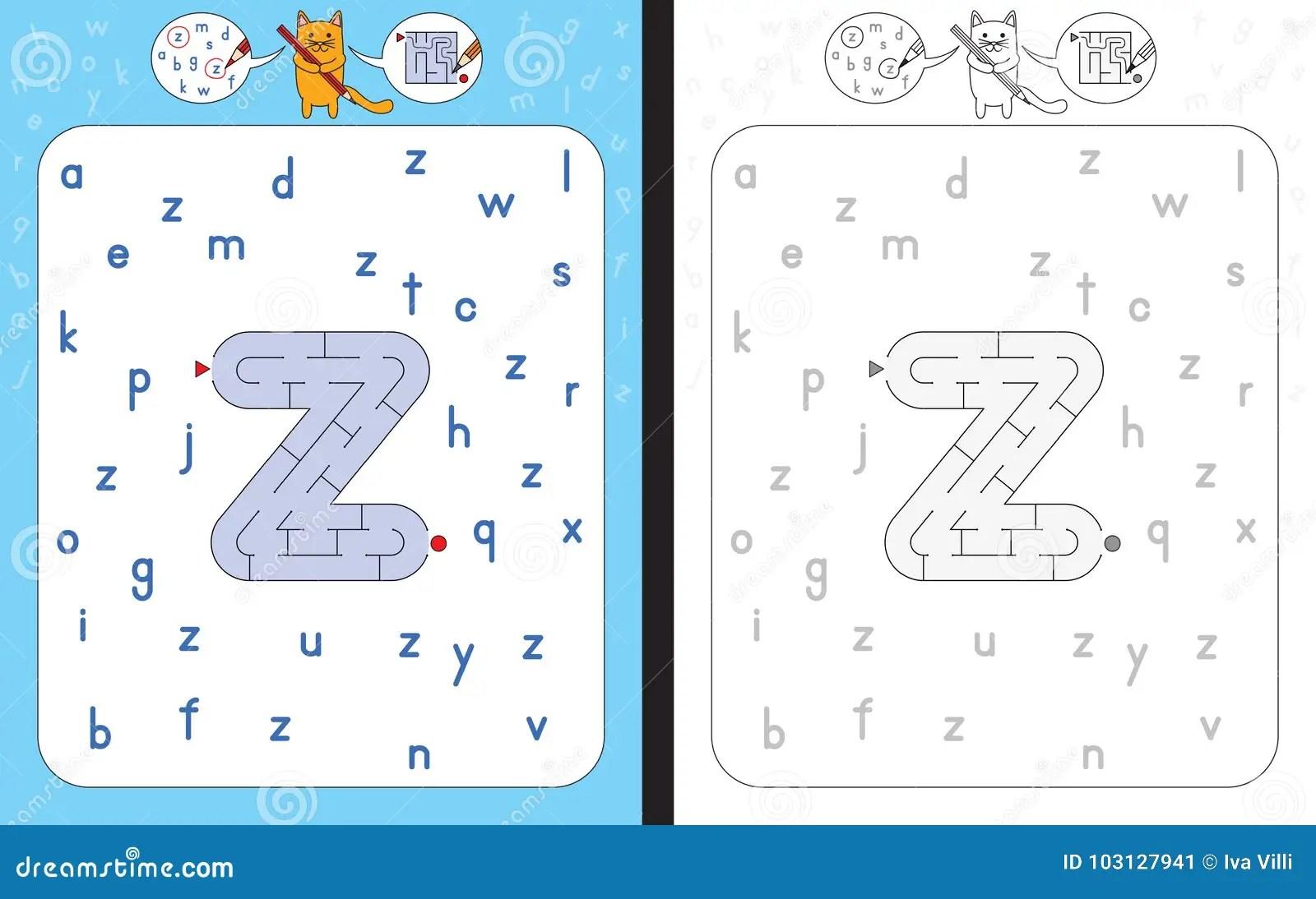 Maze Letter Z Stock Vector Illustration Of Writing
