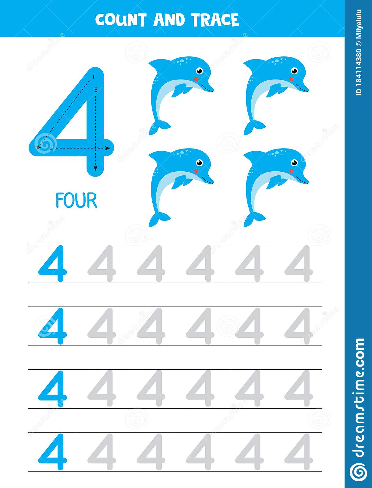 Worksheet For Learning Numbers With Cartoon Dolphins