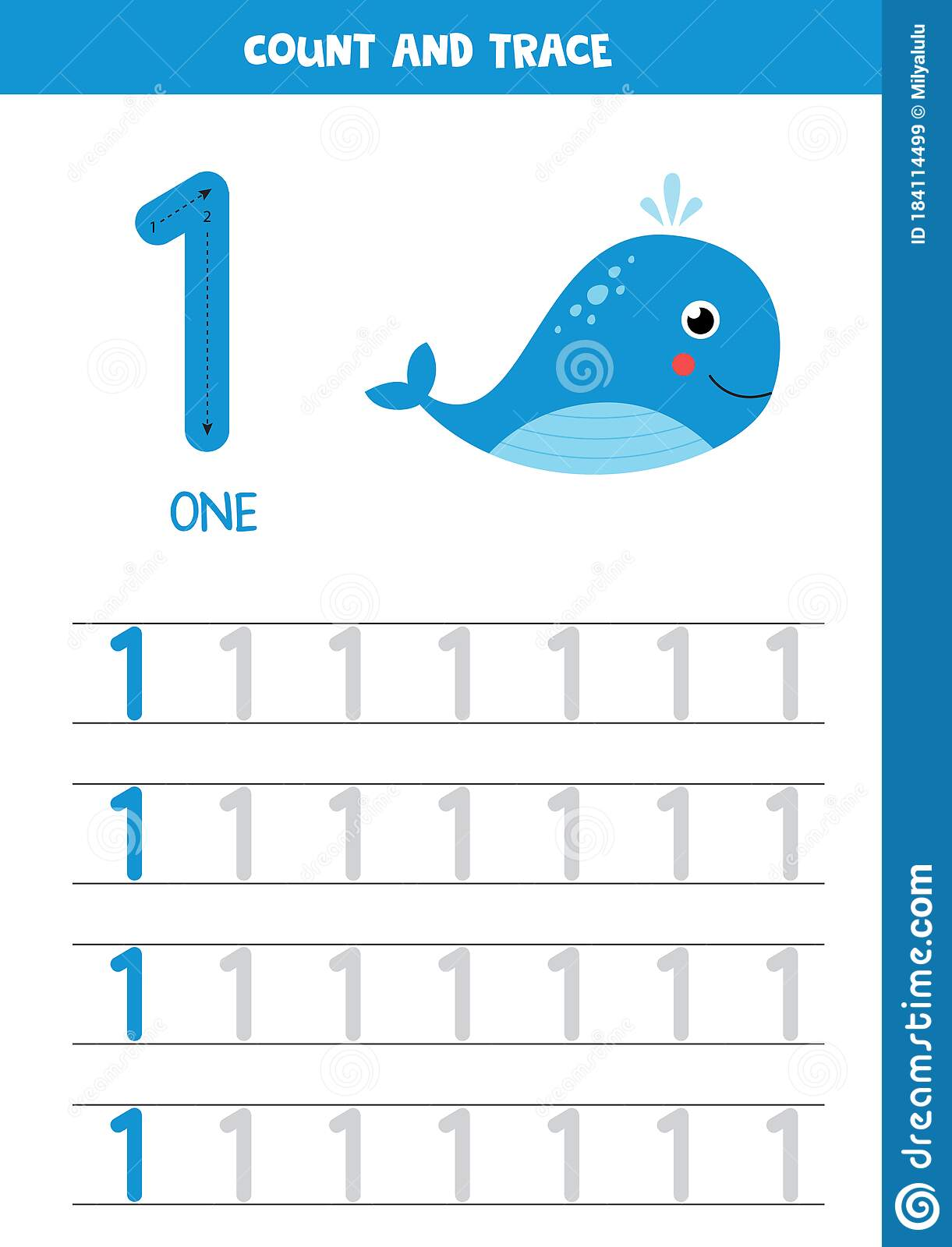 Worksheet For Learning Numbers With Cartoon Sea Whale