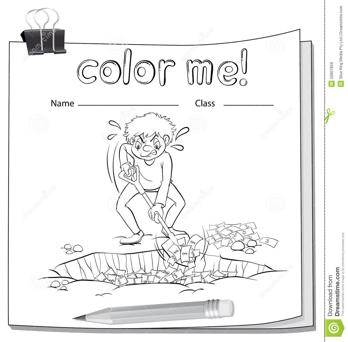 Worksheet With A Man Digging Stock Vector