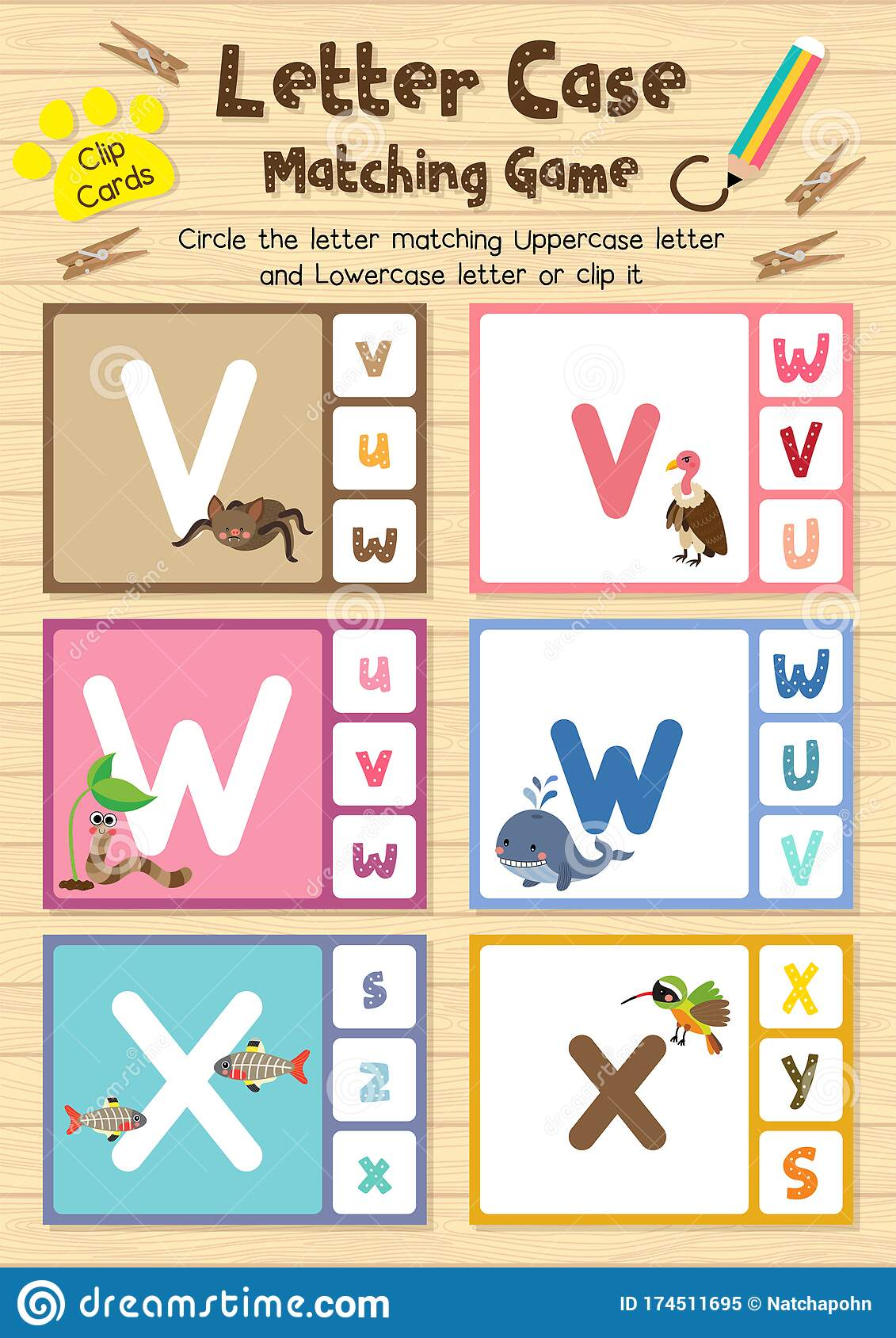 Worksheet Matching Letter Case Vwx Stock Vector