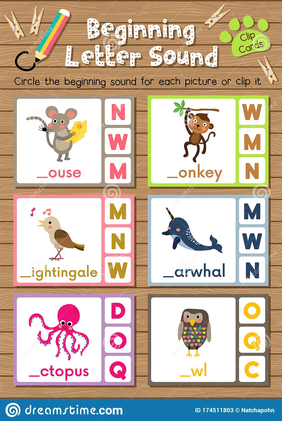 Worksheet Matching Vocabulary Mno Stock Vector