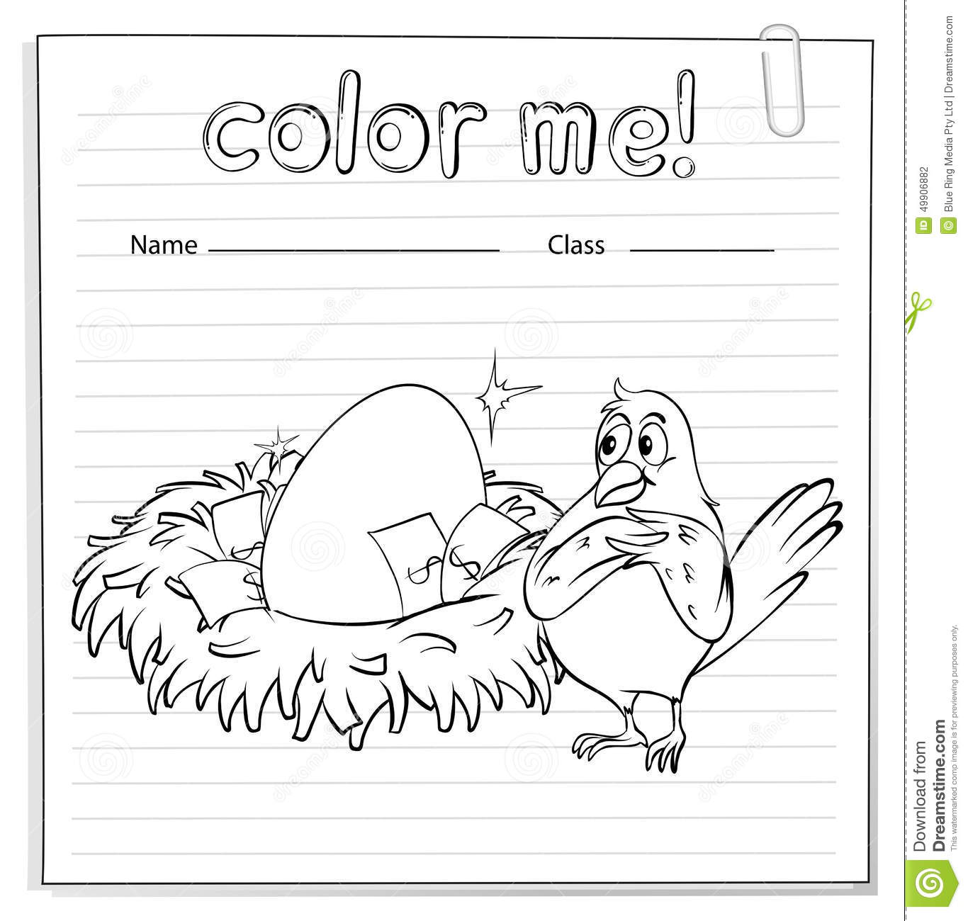 A Worksheet With A Nest And A Bird Stock Vector