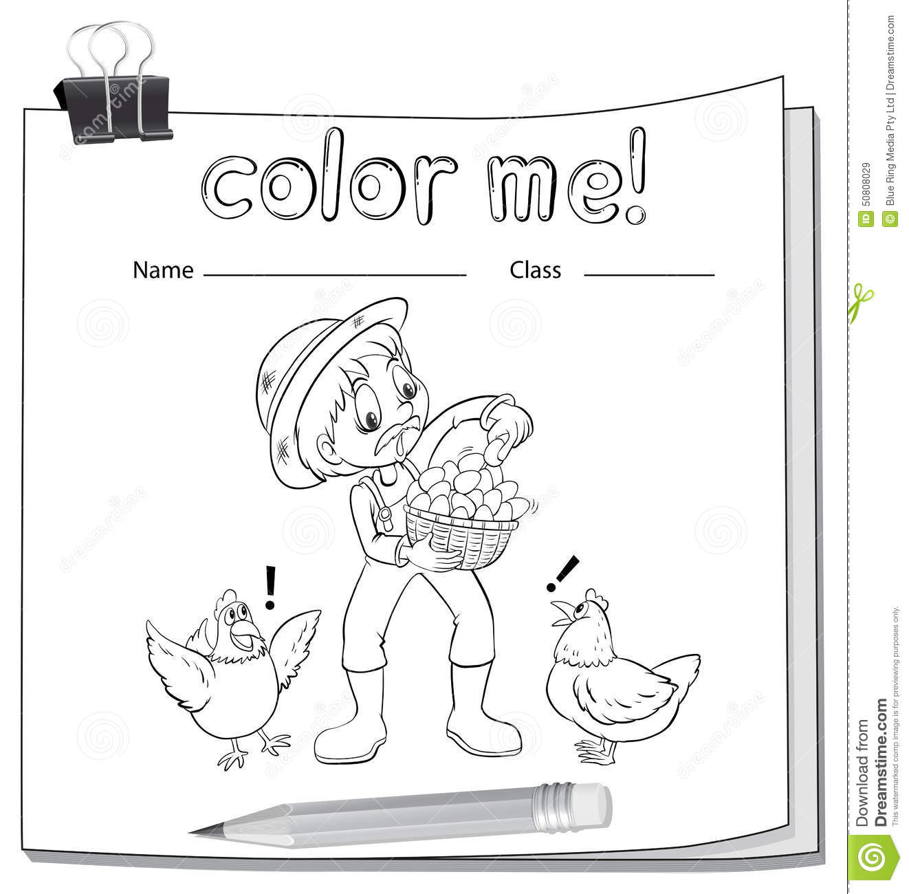 Worksheet Showing A Farmer Stock Vector Illustration Of