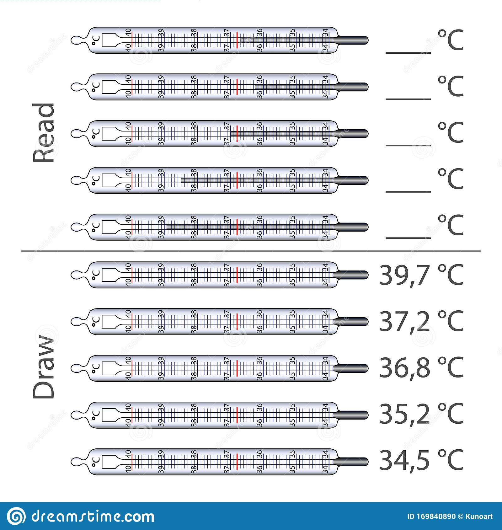 Worksheet To Study The Scale Of Mercury Thermometer Stock