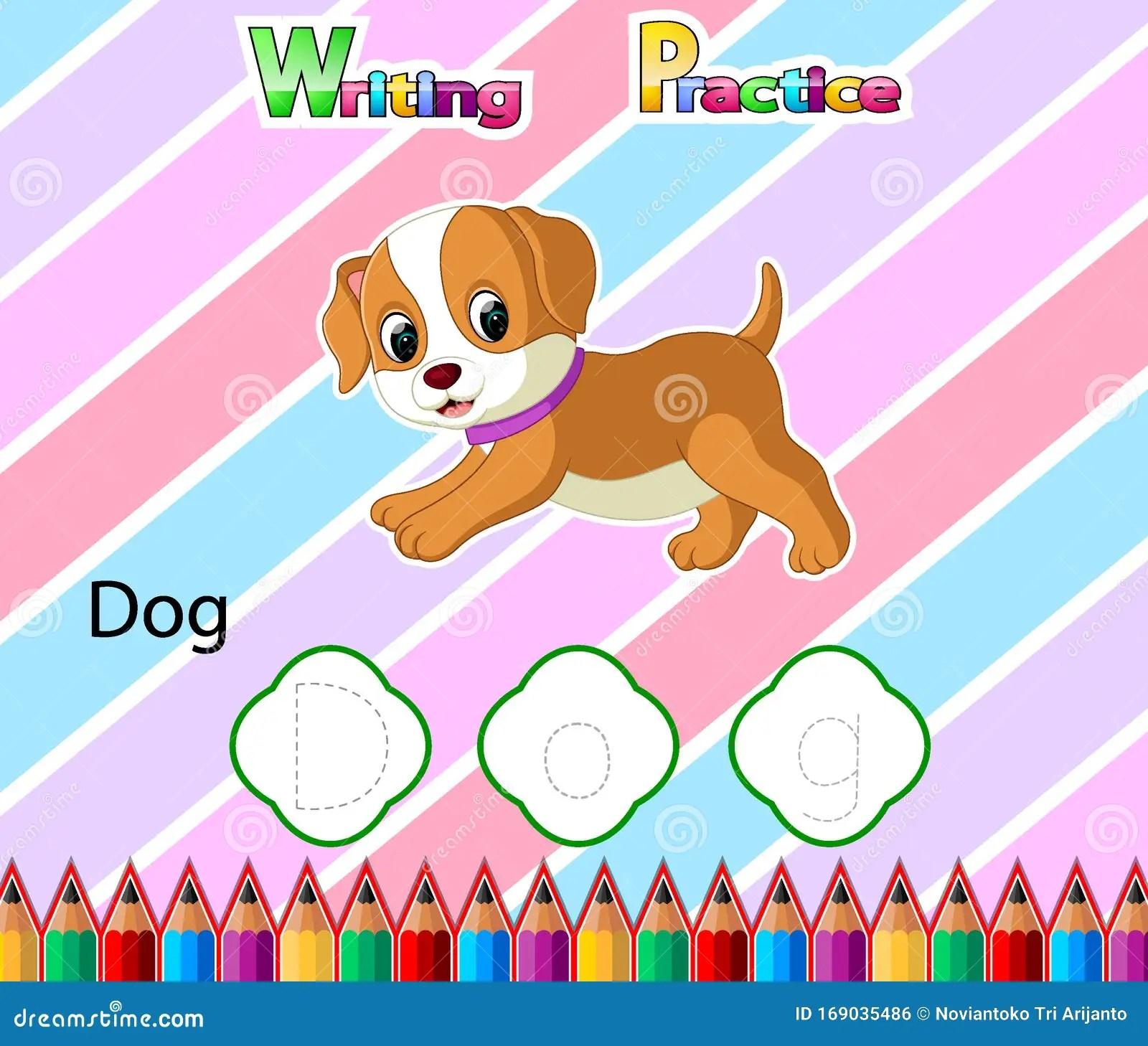 Worksheet Writing Practice Alphabet D For Dog Stock Vector