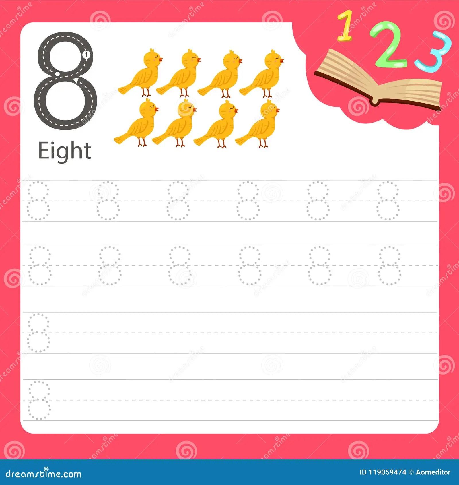 Worksheet Writing Practice Number Eight Stock Vector