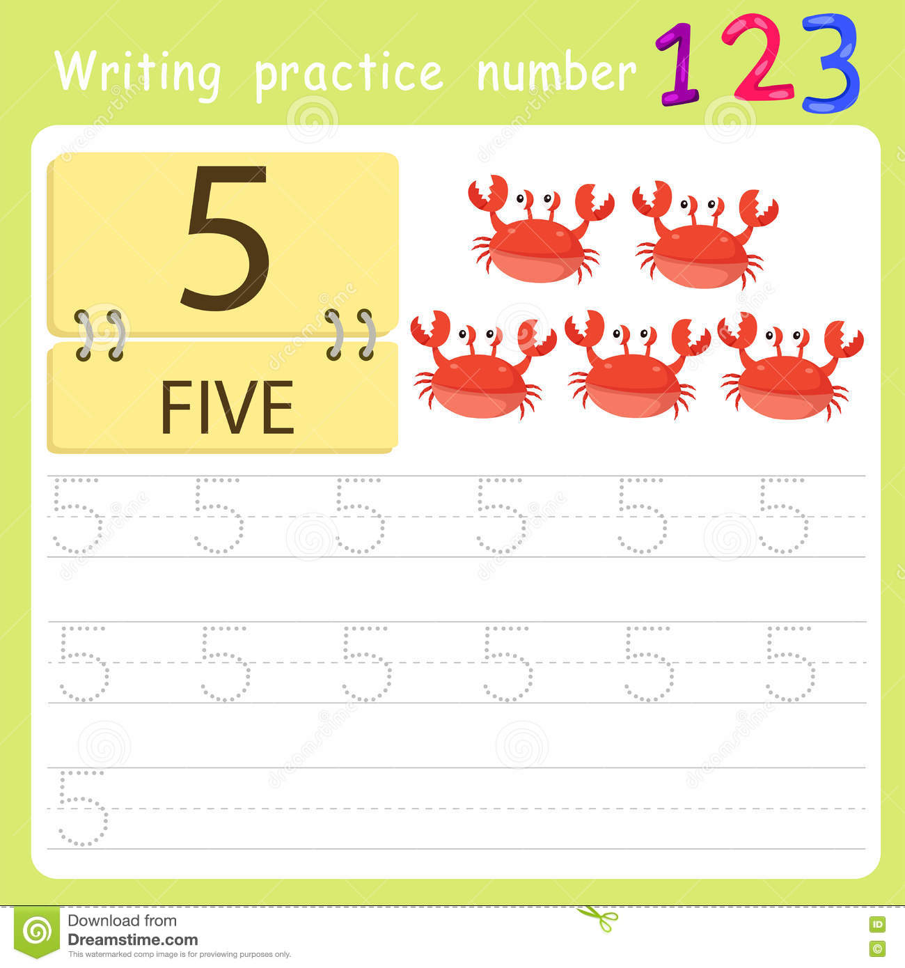 Worksheet Writing Practice Number Five Stock Vector