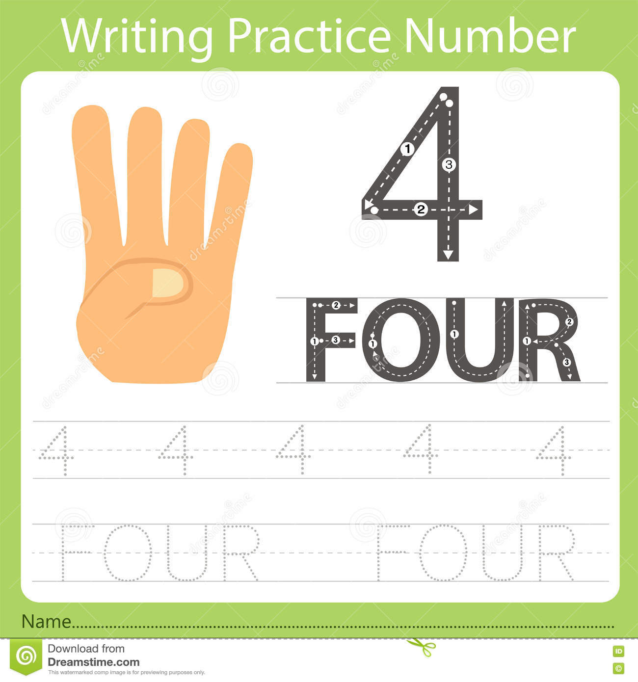 Worksheet Writing Practice Number Four Stock Vector