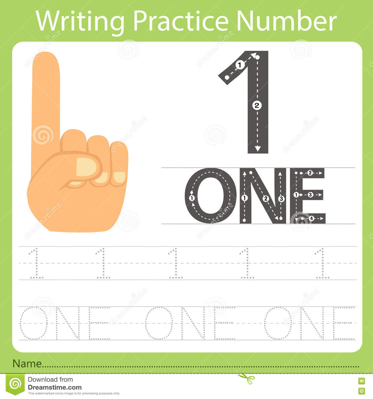 Worksheet Writing Practice Number One Stock Vector