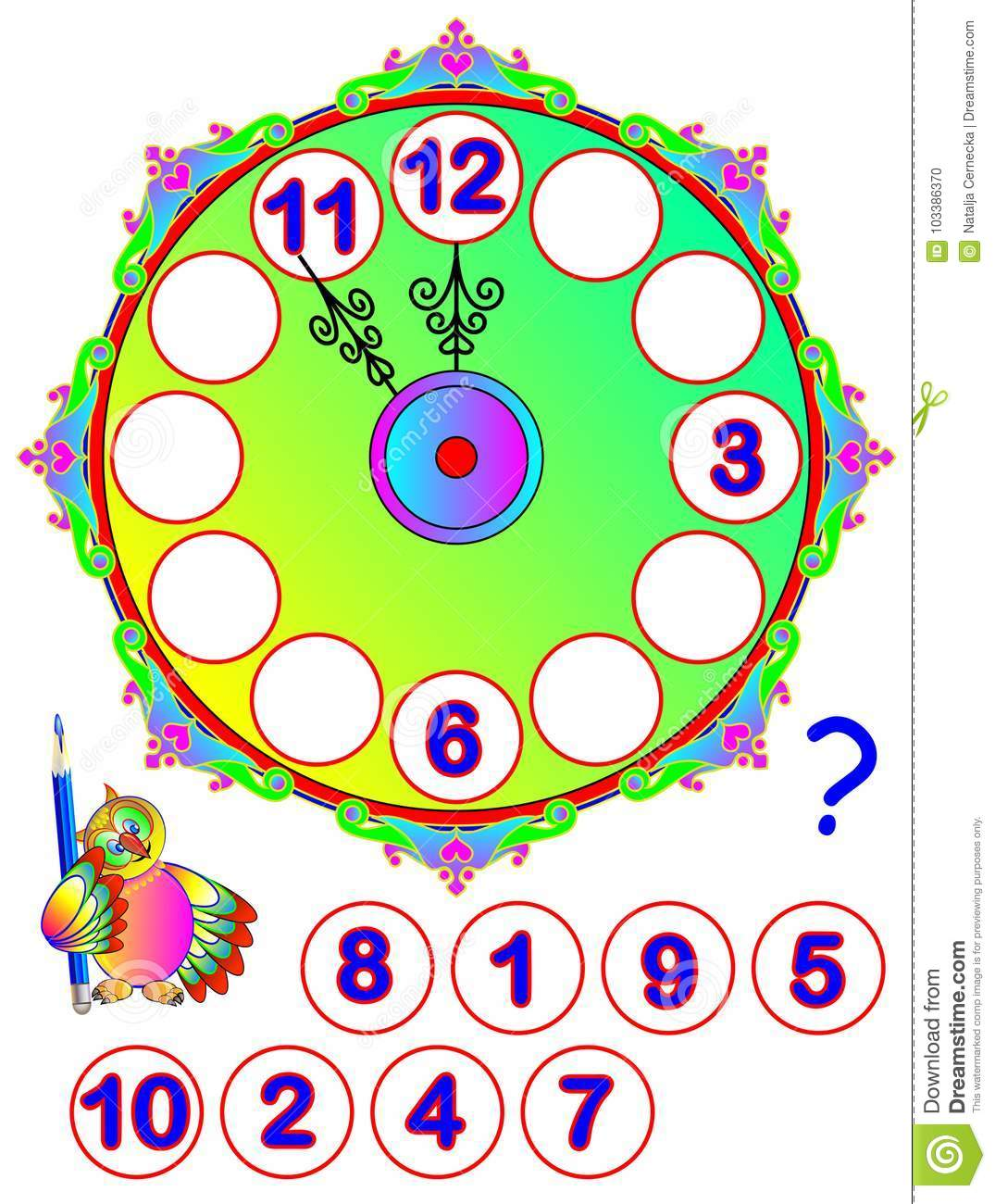 Worksheet For Young Children Repair The Clock Find The