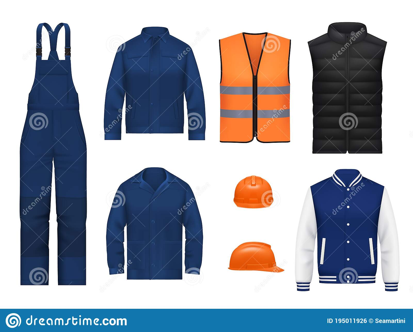 Psd mockup id 57159 in apparel mockups 9. Workwear Uniform And Worker Clothesg Realistic Stock Vector Illustration Of Professional Mechanic 195011926