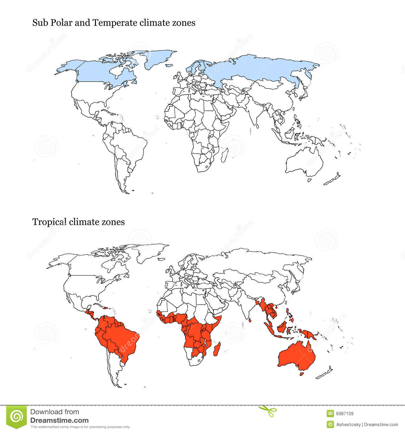 World Climate Zones Map Extremes Royalty Free Stock Images