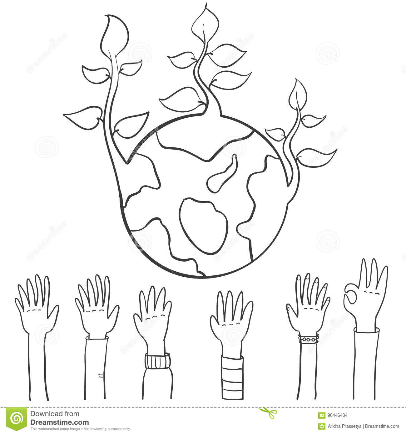 World Hand Draw Earth Day Stock Vector Illustration Of