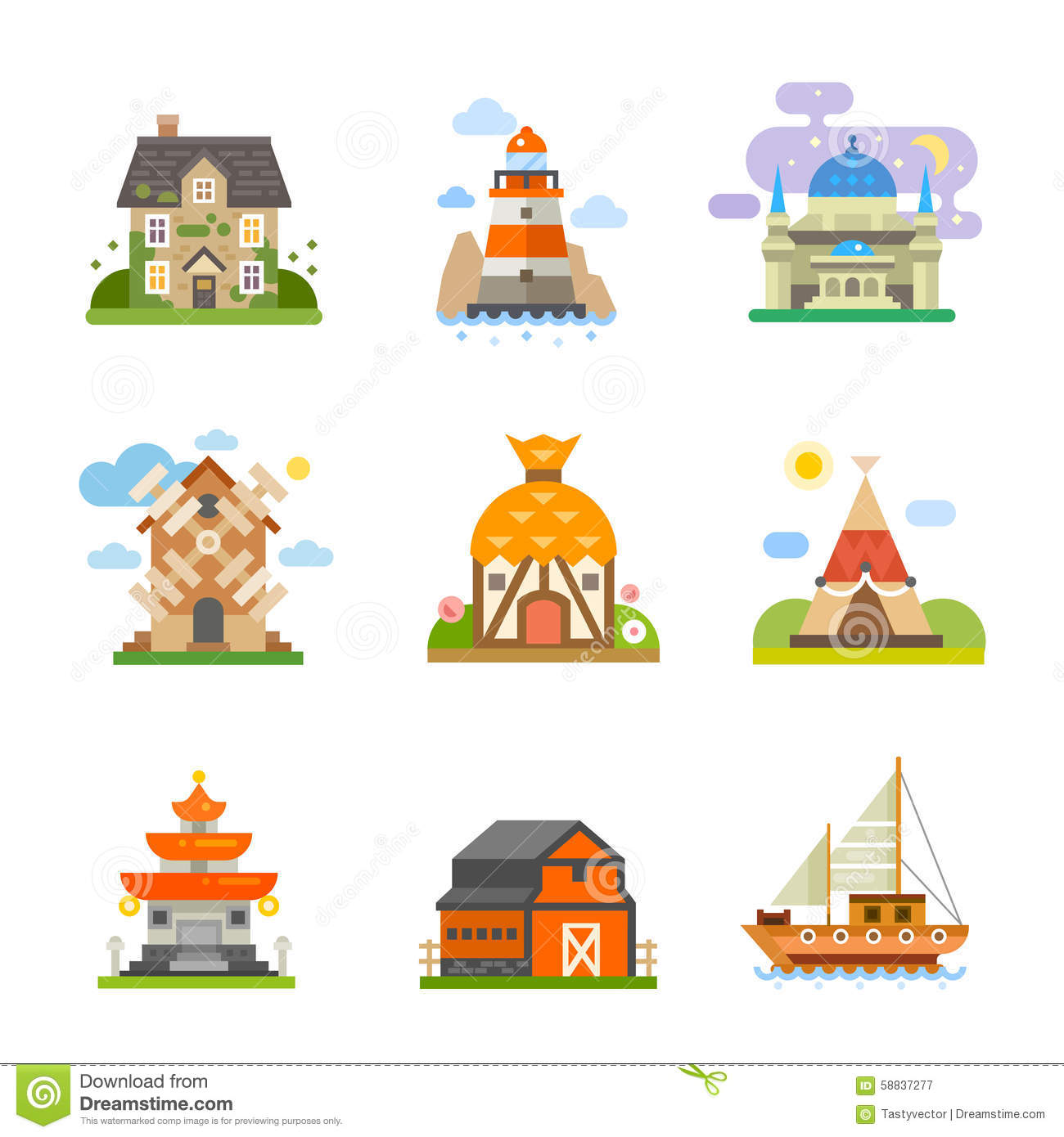 World Houses Stock Vector Image Of Cute Architecture