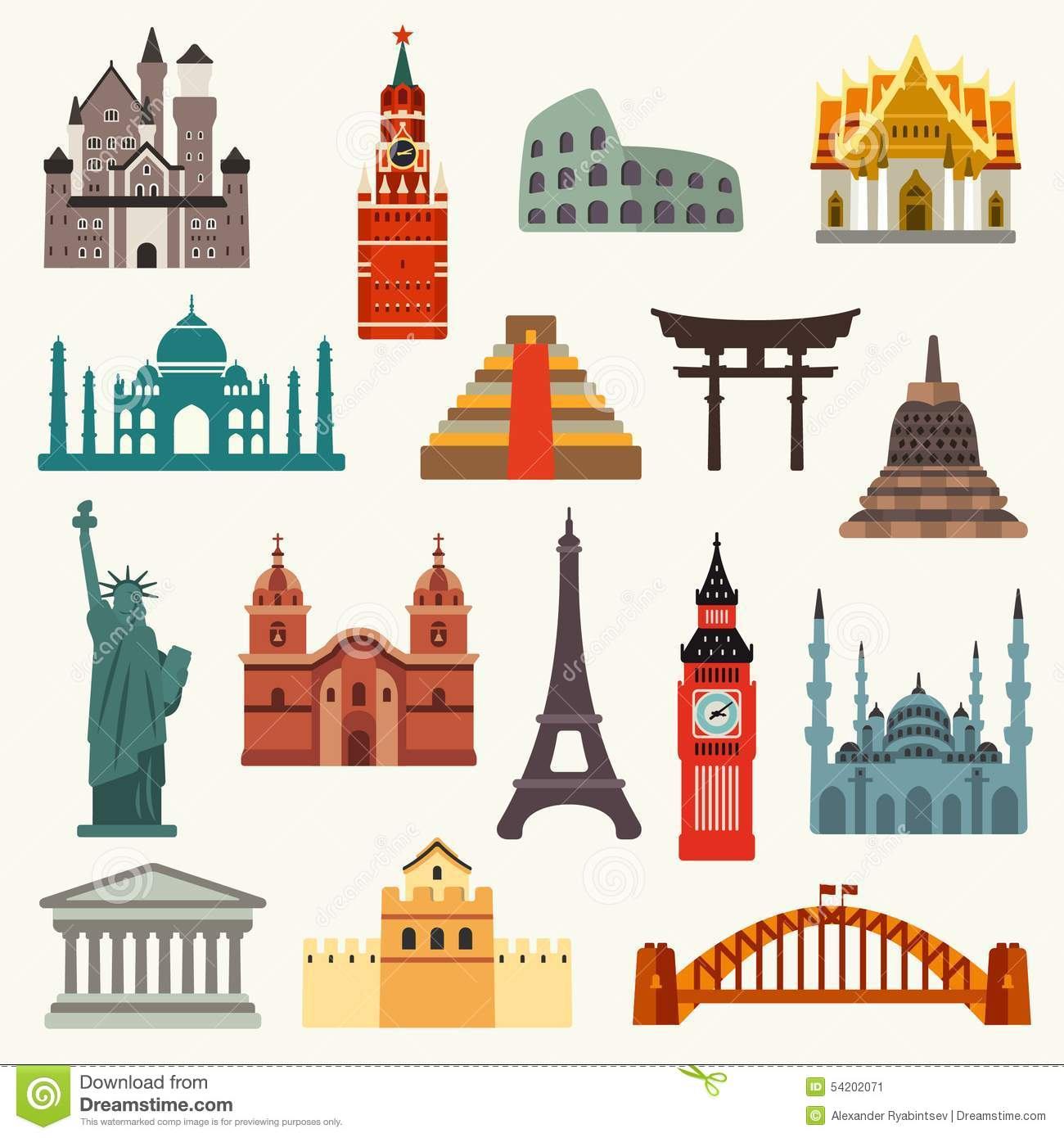 Indonesia Famous Landmark Icons Cartoon Vector