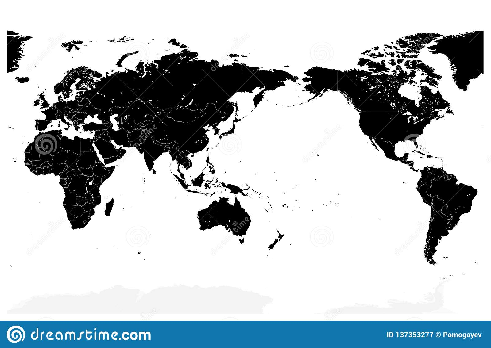World Map Black Color Pacific Centered No Text Stock