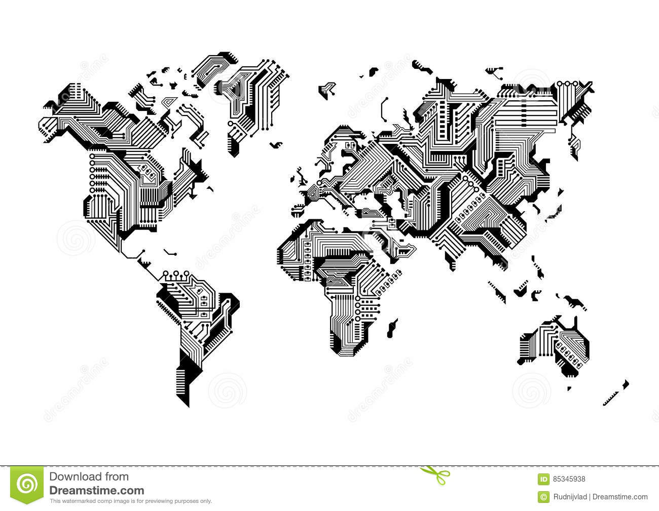 World Map Circuit Board Design Stock Vector