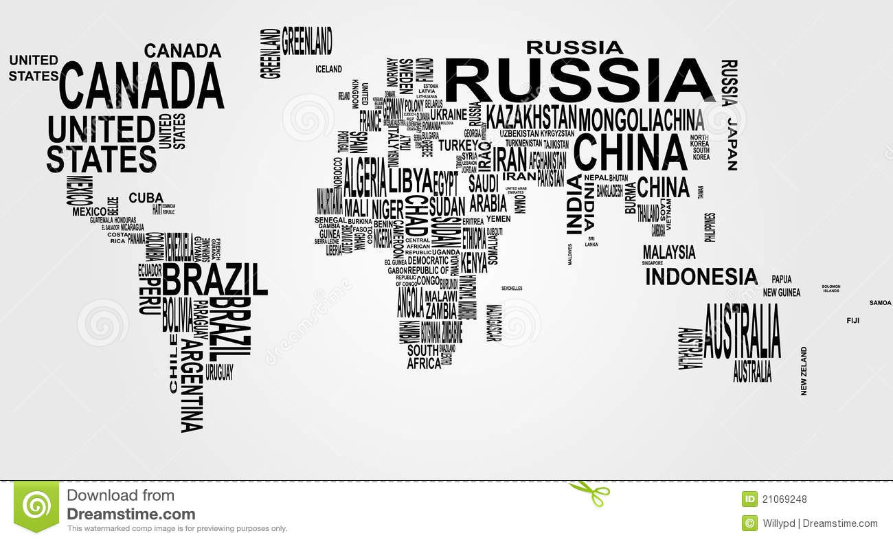 World Map With Country Name Stock Vector