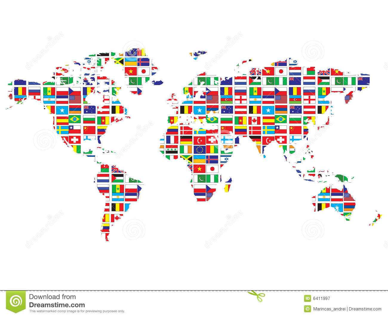 World Map With Flags Royalty Free Stock Photography