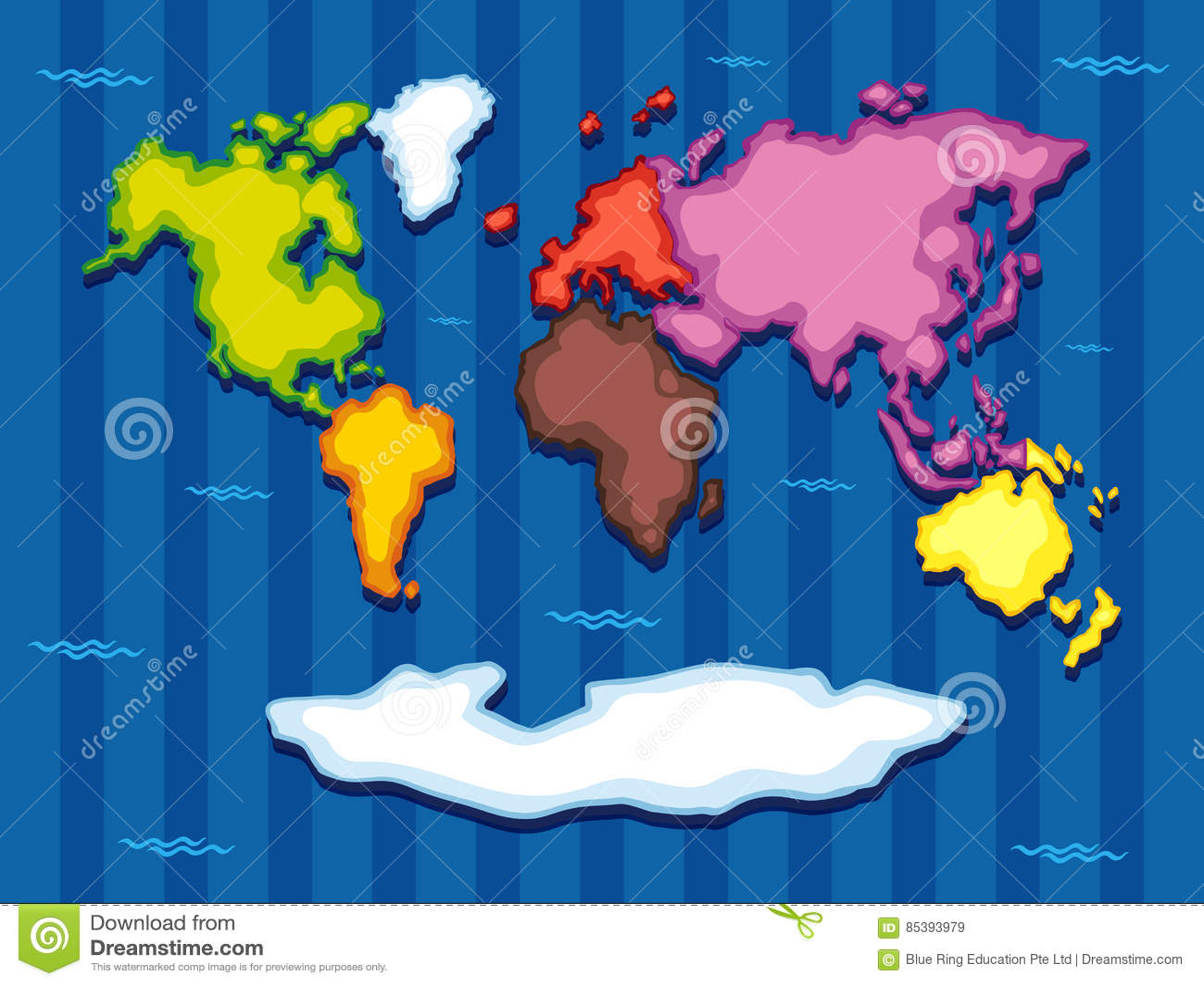 Seven Continents World Map Cartoon Vector