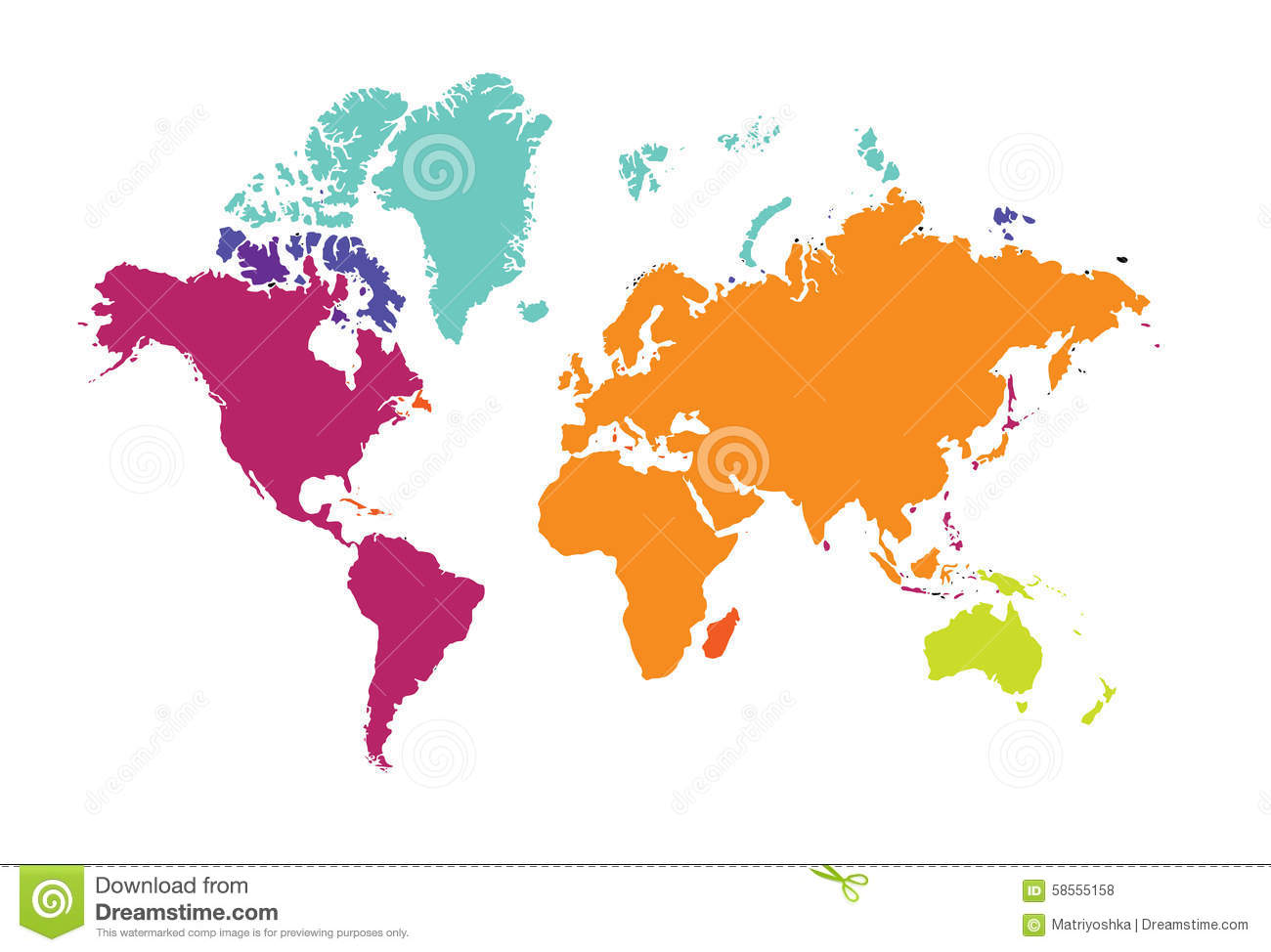 World Map Of The World Continents Europe Australia America