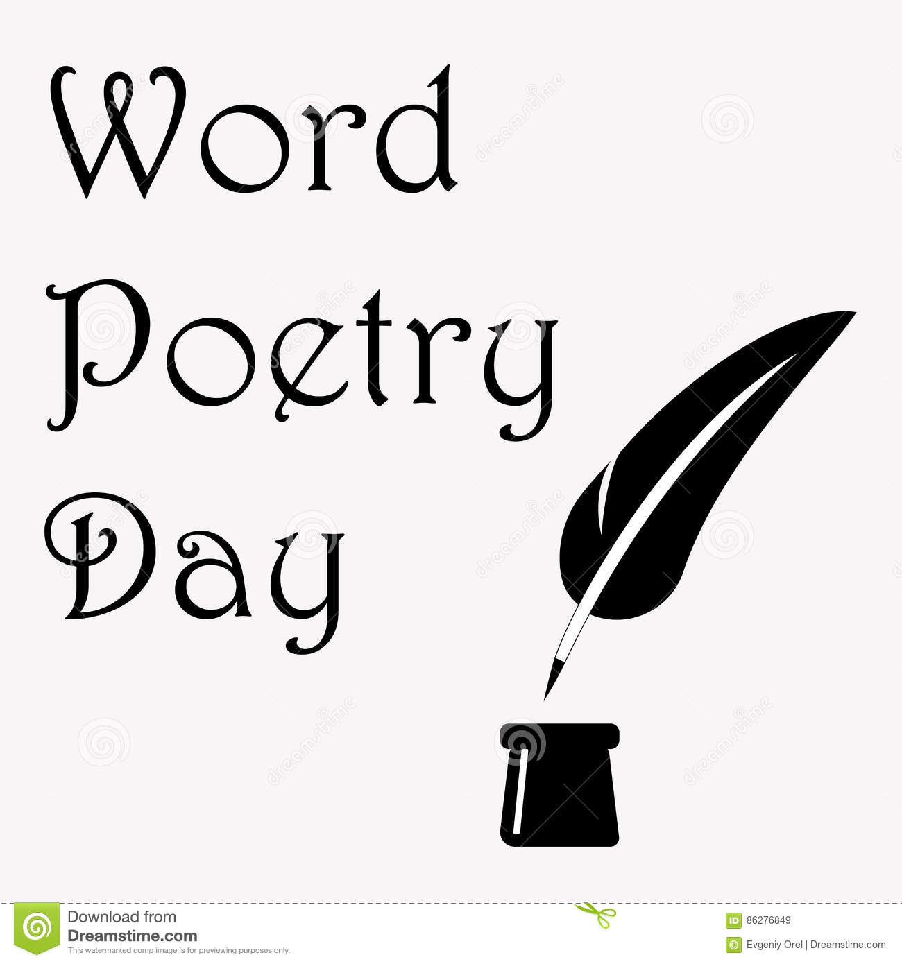 World Poetry Day Illustration With Ink Pot And Feather