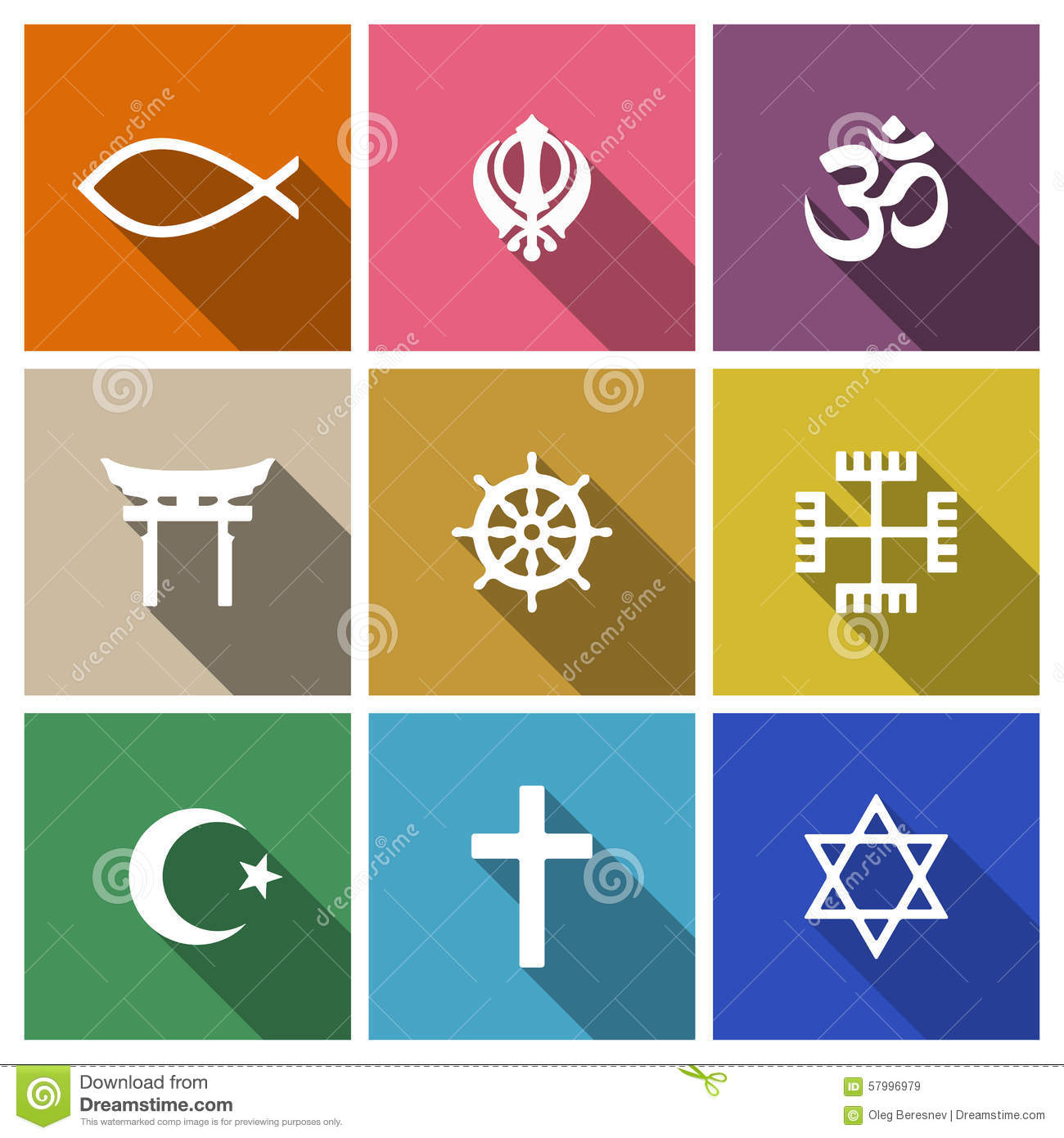 World Religion Symbols Flat Set Stock Vector