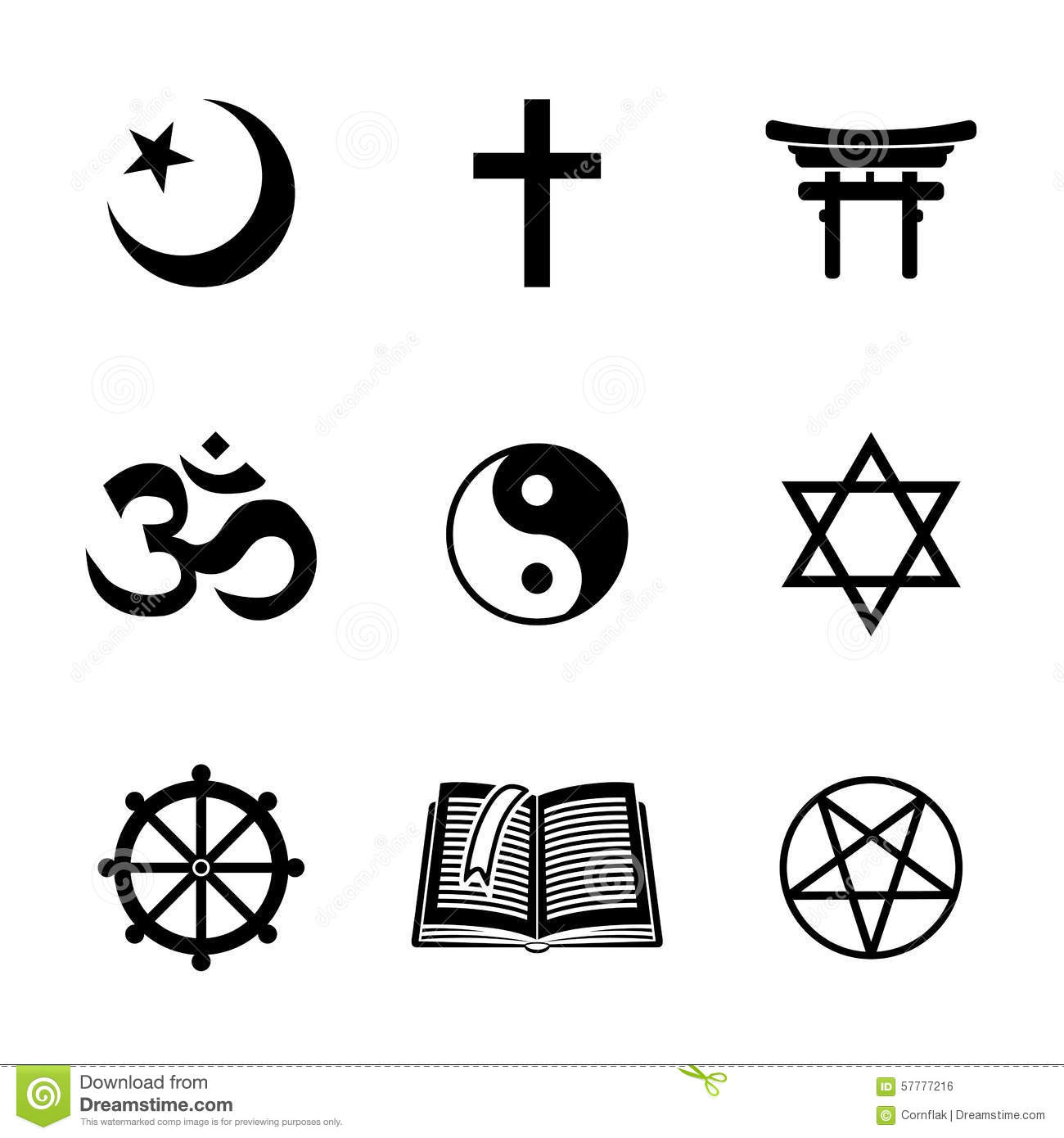 World Religion Symbols Set With