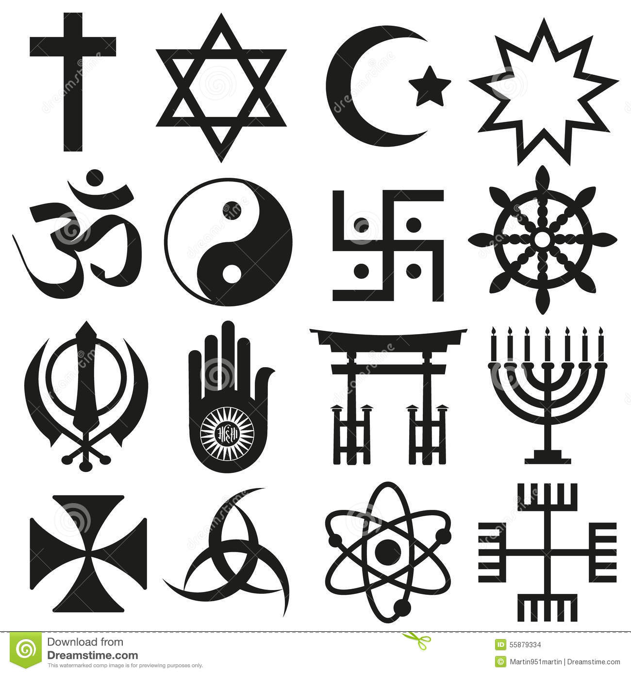 World Religions Symbols Vector Set Of Icons Eps10 Stock