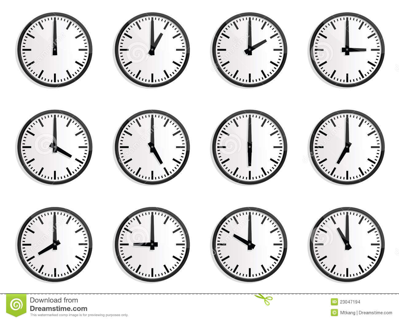 World Time Zone Wall Clock Stock Vector