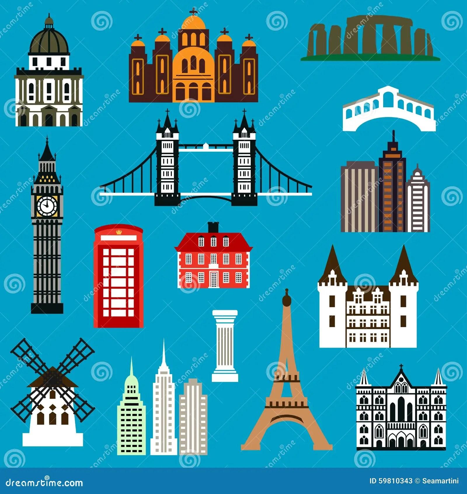 World Travel Landmark Flat Icons Stock Vector