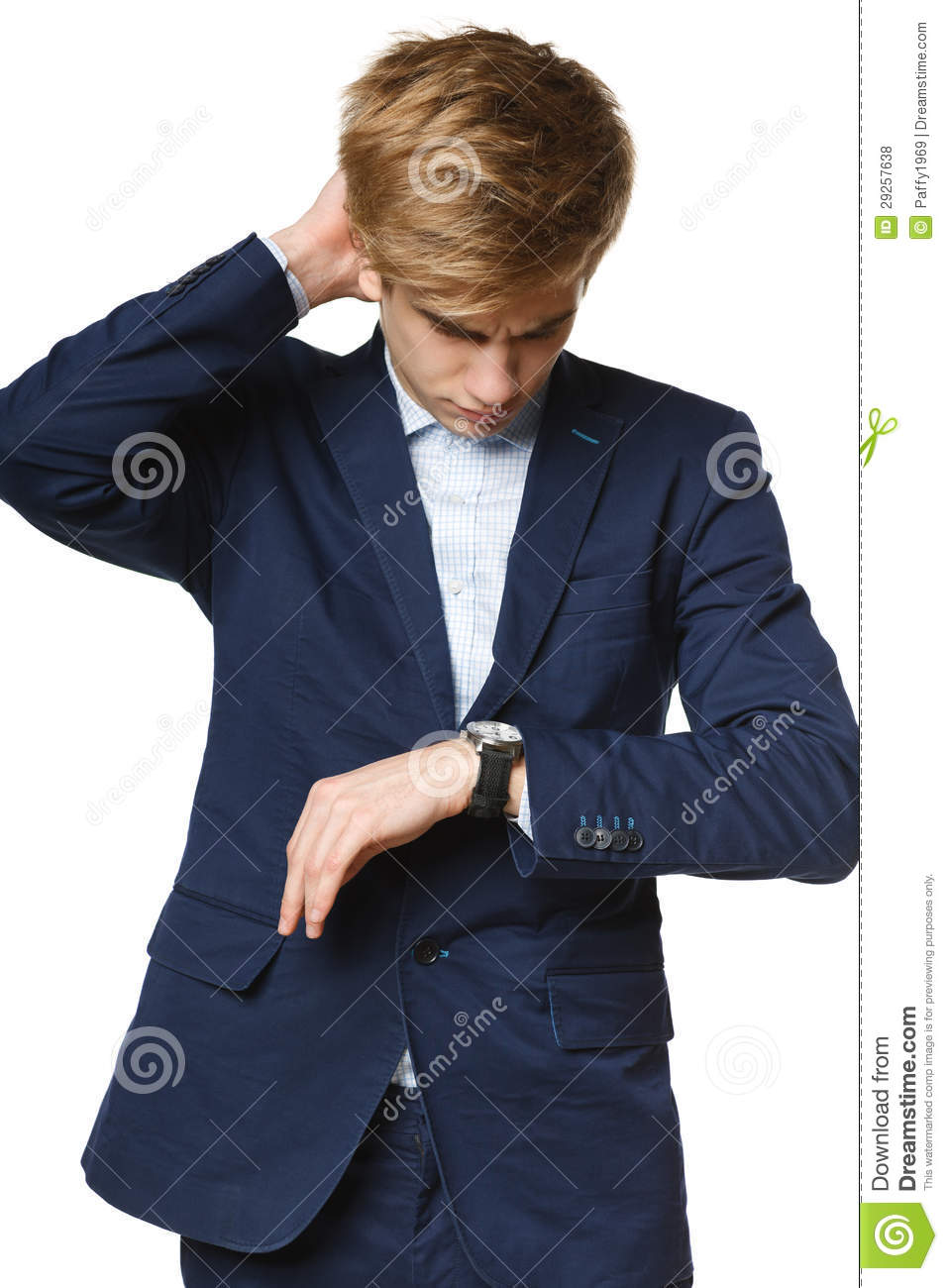 Worried Business Man Looking At Wrist Watch Stock Photo