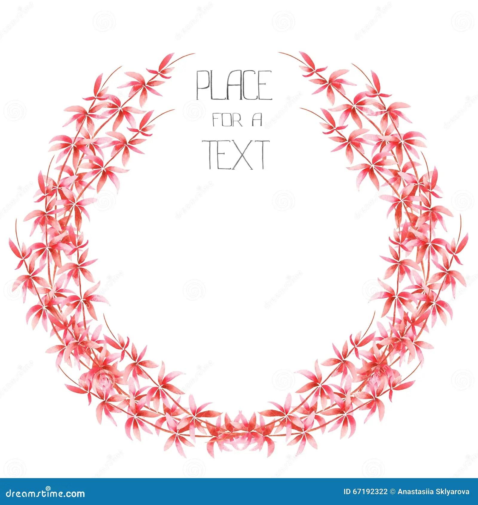 Red Floral Circle Frame Vector Illustration