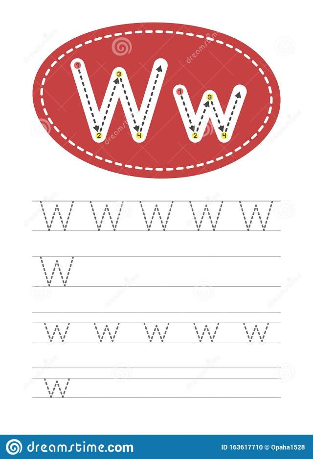 Write a letter W and w stock vector. Illustration of grammar
