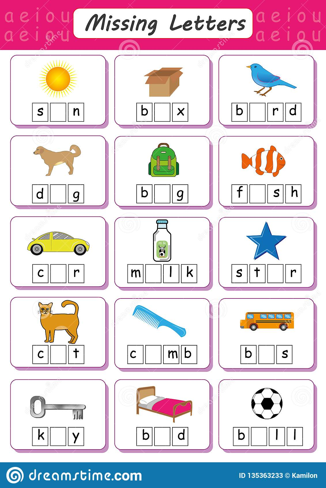 Writing Vowels Worksheet Kindergarten